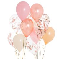 Ballon med konfetti - rose/gold - 5 stk